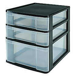 Office Depot(R) Brand 3-Drawer Table Chest, 12 3/4In.H X 10In.W X 12 3/4In.D, Black/Clear Drawers