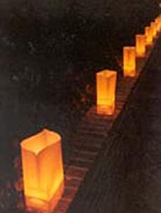 Golden brown electric luminaria light set for Electric walkway lights
