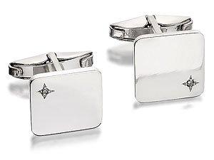 Sterling Silver Diamond Swivel Cufflinks