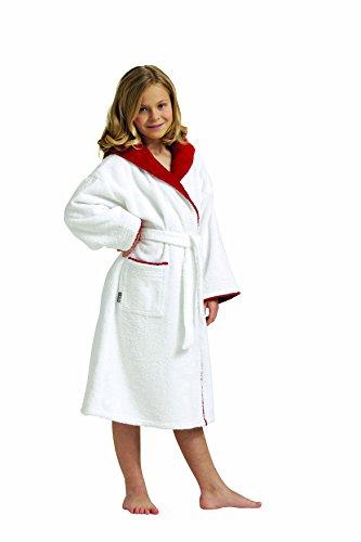 Egeria 501005CALYPSO-bambini accappatoio con cappuccio, taglia: 128-Taglie 164-100% cotone-peso: 360G/m², colore: bianco/rosso, 100% cotone, bianco/rosso, Taglia 128