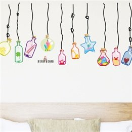 Set Points Po Wishing Bottle Bottle Removable Wall Stickers Tv Backdrop Decoration Stickers Wall Decoration front-613280