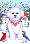 Bichon Frise - by Tomoyo Pitcher, Winter Themed Dog Breed Flags 12 x 18