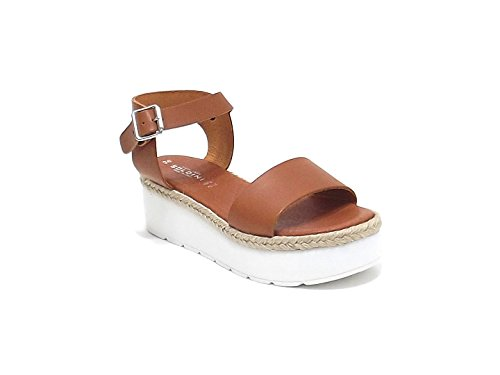 Soldini donna, modello 9436, sandalo in pelle e corda, colore cuoio