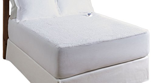 Serta Luxurious Sherpa Top Low-Voltage Electric Heated Mattress Pad, Full, White