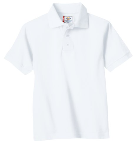 Dickies Big Boys' Short Sleeve Pique Polo Shirt, White, Large (14/16)