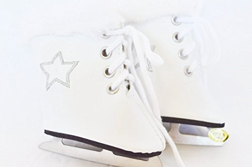 WHITE STAR SKATES WITH FUR TRIM- 18 INCH DOLL CLOTHES- FITS AMERICAN GIRL DOLLS