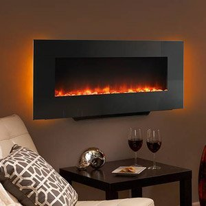 Hearth & Home 38-In Black Linear Wall Mount Electric Fireplace - SF-WM38-BK