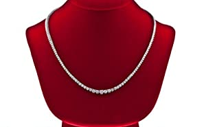 8.25 CT Diamond Tennis Necklace Graduated Set IN 14 KT White Gold