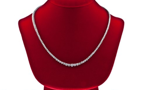 8.25 CT Diamond Tennis Necklace Graduated Set