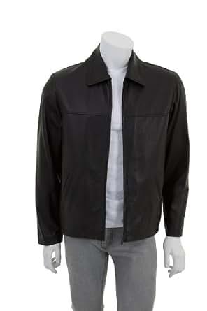 Mens simple Veste en cuir - Fabiano / Noir