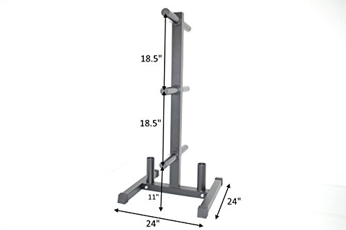 Olympic Weight Plate Tree w/ 2 Bar Holder holds bumper plates (Weight Rack Plates compare prices)