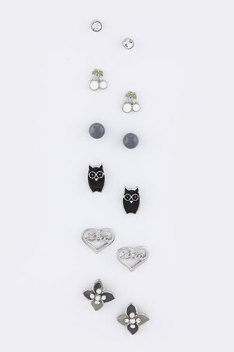 Trendy Fashion Jewelry Assorted Stud Set By Fashion Destination | (Grey)