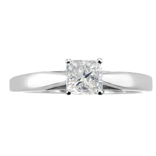 Cheapest 1/4 ct tw I2 G Natural Princess Cut Diamond Cathedral Setting Engagement Ring 14K White Gold