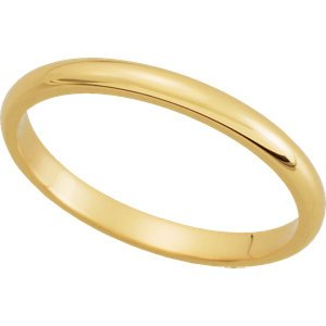Genuine IceCarats Designer Jewelry Gift 10K Yellow Gold Wedding Band Ring Ring. 02.00 Mm Half Round Band In 10K Yellowgold Size 6
