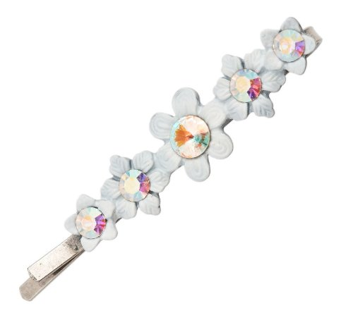 Michal Negrin Silver Coating Hair Pin with Hand-painted Flower Center and White Swarovski Crystals - Very Feminine, Hypoallergenic