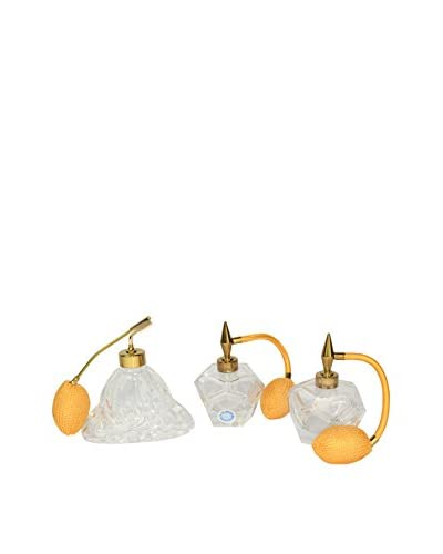 Uptown Down Set of 3 Vintage Atomizers, Clear/Orange/Gold