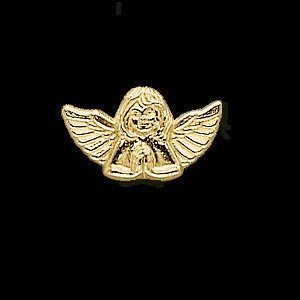 14K Yellow Gold 08.00X13.00 MM Praying Angel Lapel Pin Ring Size 6