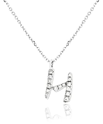Carissima 9ct White Gold 0.07ct Diamond Pendant Necklet Adjustable 38-40cm