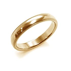 18K Yellow Gold Milgrain Edge Mens Wedding Band,3mm