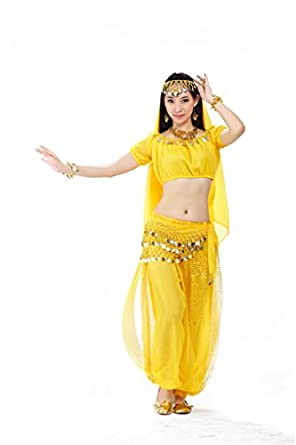 Dreamspell 2014 Belly Dance Suit Yellow Professional Dancer Set Best Gift