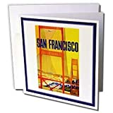 Florene Vintage Travel Posters - San Francisco Bridge Vintage Travel Poster - Greeting Cards-12 Greeting Cards with envelopes