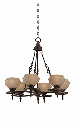 Triarch 32093 Gibson Collection 6-Light Chandelier, English Bronze Finish With Hand-Blown Scavo Glass Shades front-985435
