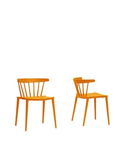 Baxton Studio Set of 2 Finchum Stackable Modern Dining Chairs, Orange As You See