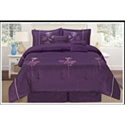 "Luxurious Queen (90x94"") Dark Purple Embroidery Comforter Set Bedding in a Bag. Purple - Queen"