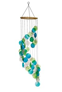feng shui mobile shell wind chime green turquoise spiral mother of pearl. Black Bedroom Furniture Sets. Home Design Ideas