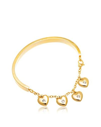 Bliss Swarovski Crystal 18K Gold-Plated Heart Charm Bracelet