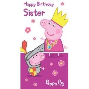 Peppa Pig Sister Birthday Greetings Card