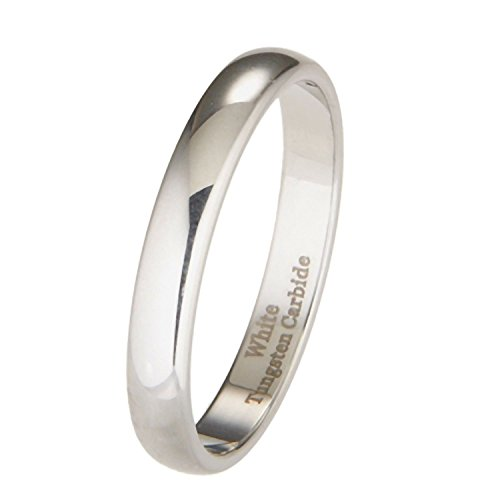3mm White Tungsten Carbide Polished Classic Wedding Ring Size 7