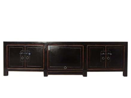 Tempo Coloniale Cina Lowboard Comò in legno massiccio Dunkelgruen verniciata in legno di pino