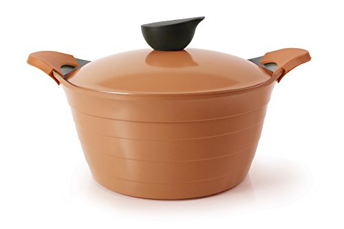 Neoflam 4.5Qt Eela Covered Stockpot With Detachable Silicone Handles And Ecolon Non-Stick Coating, Orange front-180997