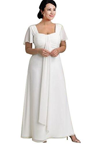 Ishowdresses Plus Size Stunning A Line Square Chiffon Wedding Dress