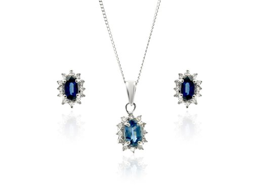 9ct White Gold Light Blue Sapphire Earrings & Pendant Set + 46cm Curb Chain