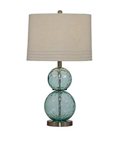 Bassett Mirror Company Barika Table Lamp, Blue Dimple Glass