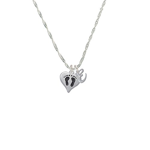 Small Heart with Baby Feet - E - Mini Gelato Initial Grace Necklace (Little Feet Necklace compare prices)