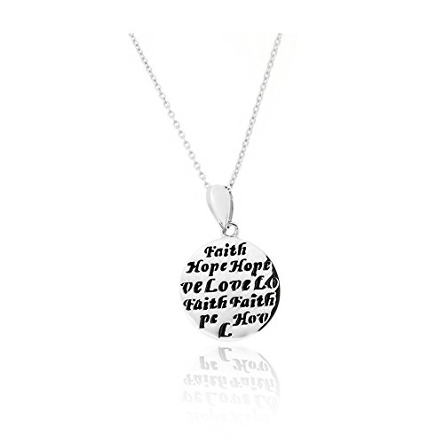 """Jewelcool """"Faith"""", """"Hope"""" And """"Love"""" Engraved Circle Pendant Necklace"""
