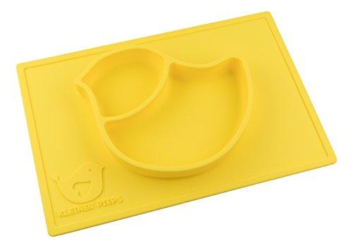 Babyteller, Tischset, Platzmatte aus Silikon für Baby und Kleinkinder (Gelb)