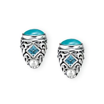 MarahLago - Larimar, Pearl & Blue Topaz Oceana Earrings