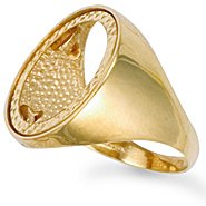 Jewelco London 9ct Solid gold Full sovereign Size V coin mount Ring with polished shoulders,Size V