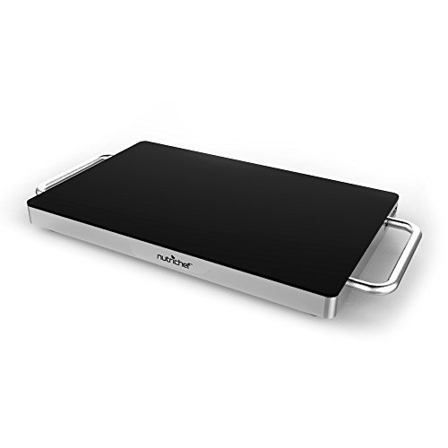 NutriChef Warming Tray Hot Plate Food Warmer with Non-Stick Heat Resistant Glass , Stainless Steel (PKWTR15)(14.5'' x 8.6'' Heating Surface) (Glass Warming Trays For Food compare prices)
