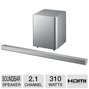 Samsung 2.1 Channel 310 Watt Silver Sound Bar With Wireless Active Subwoofer Home Theater System, Bluetooth, Smart Volume, Hd Sound, 3D Sound Plus, Anynet +, Crystal Sound Pro, Dolby Digital, Dts, 3D Video Pass, Silver Finish