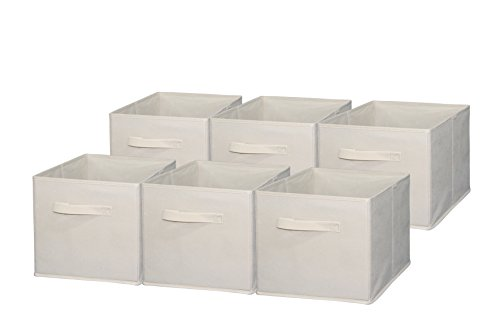 Sodynee Foldable Cloth Storage Cube Basket Bins Organizer Containers Drawers, 6 Pack, Beige, Beige (Collapsible Storage Containers compare prices)