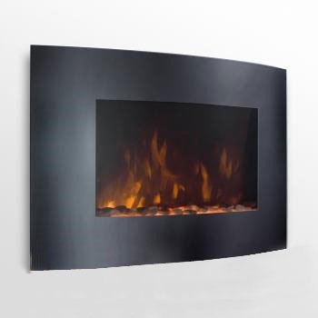 New XtremepowerUS 35 WALL MOUNT CURE ELECTRIC FIREPLACE WITH 1500 watt HEATER BLACK GLASS