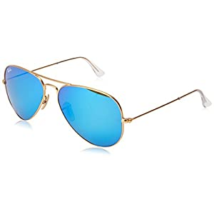 Ray-Ban Aviator Large Metal Light Mirrored Sunglasses, MATTE GOLD FRAME / CRYSTAL GREEN  MIRROR MULTILAYER BLUE LENS, 55 mm