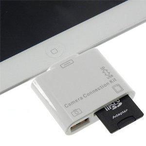 iPad/iPad2/iPad3 新しいiPad the new iPad 用 2in1 コネクションキット (SDカードリーダー/USBポート)   USBキーボードの外部接続も可能に♪ 最新iOS6.1.3も対応日本語説明書付き