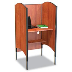 * Height-Adjustable Carrel, Laminate, 31w x 30d x 57-1/2 to 69-1/2h, Cherry