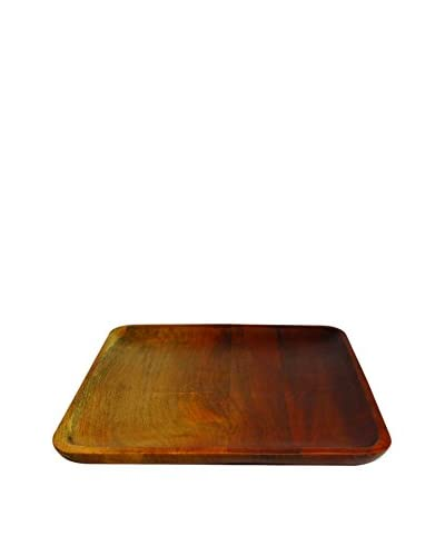 Be Home Large Ombre Mango Wood Square Tray, Brown